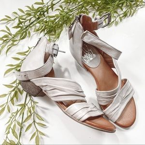 Miz Mooz Candace leather gray sandals ankle buckle